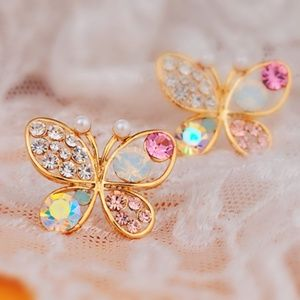 NEW gold plated multi color butterfly stud earring